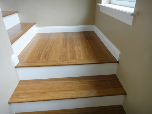... Strand Woven Bamboo Flooring On Stair Treads, White Painted Risers ...